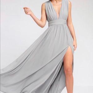 Grey lulus side slit maxi dress